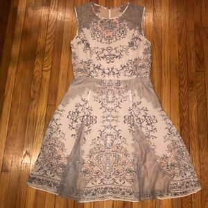 BCBG Maxazria white floral with grey lace dress